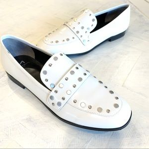 Marc Fisher Zima White Studded Leather Loafers